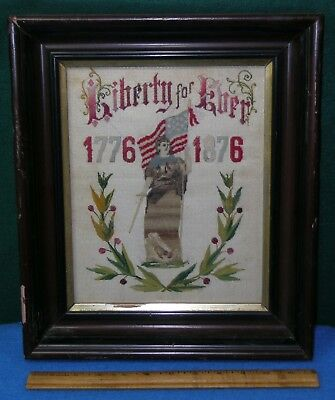 1776 1876 Framed CENTENNIAL NEEDLEPOINT * LIBERTY FOR EVER Lady Liberty