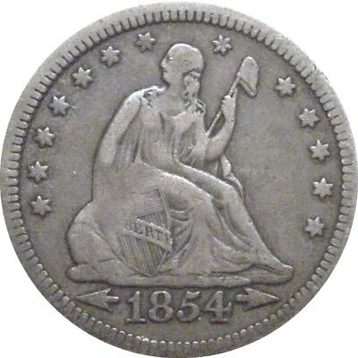 1854 Seated Quarter--Attractive Very Fine--Arrows at Date