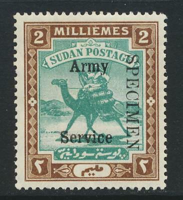 """SUDAN - BRITISH 1906, 2m ARMY SERVICE """"SPECIMEN"""" SIGNED VLH SG#A7s (SEE BELOW)"""