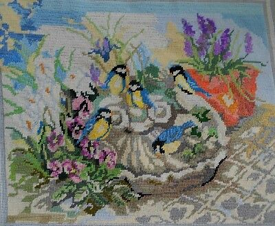 Vintage Lanarte Completed Tapestry Canvas ~ Blue Tits In Bird Bath 40Cm  X 32Cm