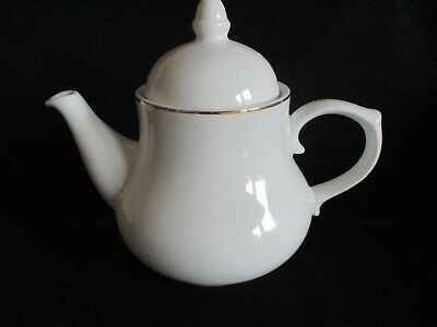 White china Tea pot gold band lovely condition holds 6-7 cups