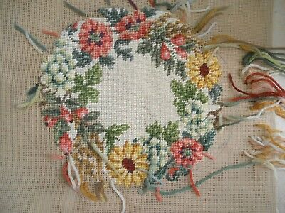 Vintage Part Completed Tapestry Canvas-With A Garland Of Fruit & Flowers