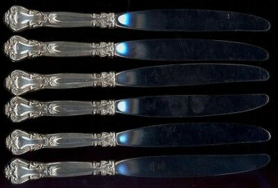 Set of SIX Gorham Chantilly Sterling Silver Dinner Knives - No Monograms