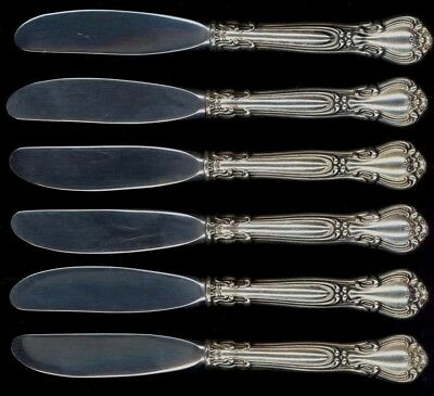 Set of SIX Gorham Chantilly Sterling Silver HH Butter Knives - No Monograms