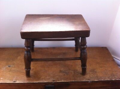 LOVELY DECORATIVE SMALL ANTIQUE WOODEN 4 LEGGED STOOL 10 by 6.3 inches