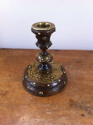 DECORATIVE ANTIQUE WOOD & BRASS CANDLESTICK 5 inches