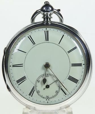 Solid sterling silver English fusee lever pocket watch 1899 cleaned & working