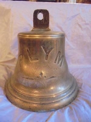 "GENUINE ANTIQUE BRASS SHIP'S BELL MARKED ""PLYM"", 20cm TALL, 5.6kg PLYMOUTH BOAT"