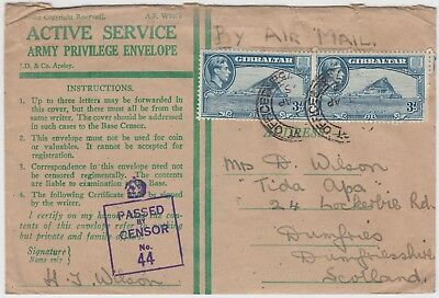 GIBRALTAR 1945 OAS ARMY PRIVILEGE envelope with FIELD POST OFFICE  & CENSOR mark