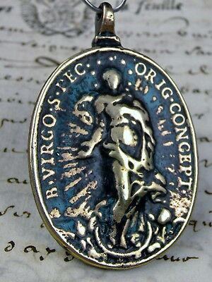 Antique Spanish Colonial Catholic Immaculate Conception Saint Michael Medal