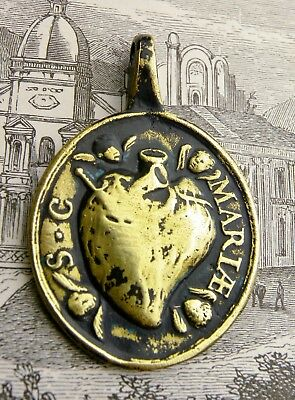 Antique Immaculate Heart Our Lady of Guadalupe Mexico Shrine Pilgrimage Medal