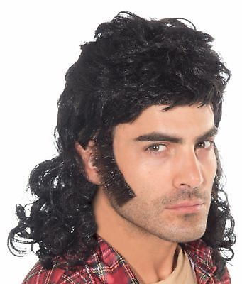 Curly Black Mullet Adult Wig Costume Accessory NEW 80s 70s Redneck Hillbilly