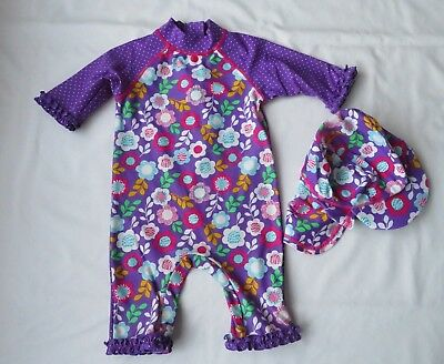 miniclub girls outfit all in one  swimsuit / sunsuit  and hat age 18-24 months