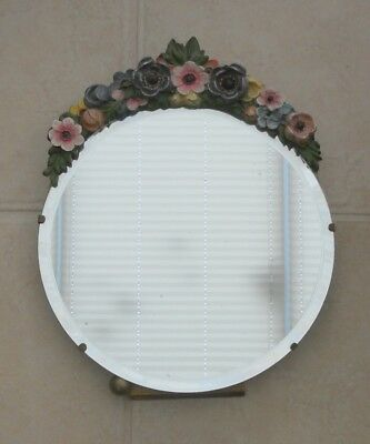 Antique Barbola Round Easel Mirror With Floral Design