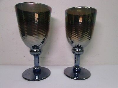 Pair of Vintage Signed Purple Art Glass Iridescent Swirl Water Goblets