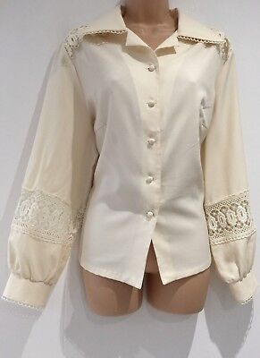 Vintage 70's Cream Lace Panel Pointed Collar Long Sleeve Blouse Shirt  20-22