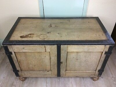 Antique Pine Military Campaign Chest / Trunk, Iron Banded With Cupboard Doors