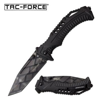 "Spring-Assisted Folding Knife | Tac-Force 3.75"" Black Tanto Blade EDC TF-963TS"