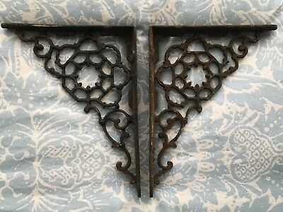 "Pair Of Vintage Antique Cast Iron Ornate Shelf Brackets 8"" X 6"""