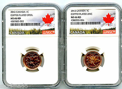 2012 Canada Cent Ngc Ms66 Rd Steel And Zinc Two Coin Set Landscape Label Last Yr