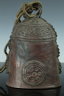 Chinese Antique Buddhist Temple Bronze Bell Dragon Relief Gong Jan101
