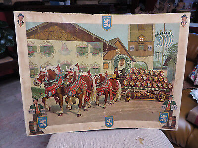 Antique Lowenbrau Lithographed Beer Poster, Munich Beer Wagon, 24 X 18 Inches