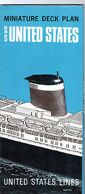 MINIATURE DECK PLAN, PAQUEBOT SS UNITED STATES , Compagnie  UNITED STATES LINE