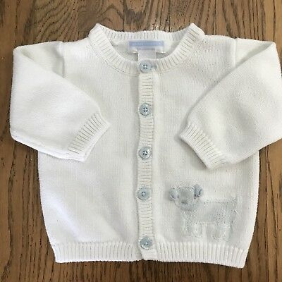 JANIE AND JACK LAYETTE Boy Or Girl WHite Baby Blue CARDIGAN SWEATER 3-6 M