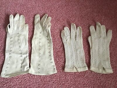 Vintage White Gloves x 2 pairs ladies - leather/ leather effect and fabric Small