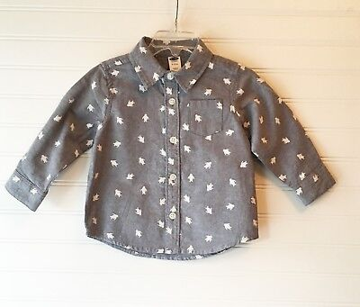 Old Navy baby boy button up shirt light blue w/penguins - Brand New Tags