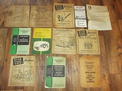 Lot Of Vintage John Deere Manuals And Paper Items, Pre Owned,