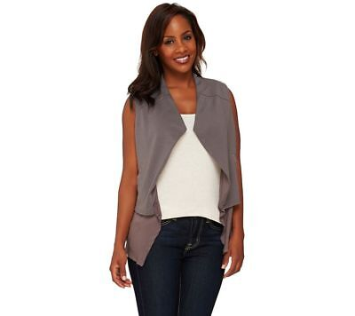 Lisa Rinna Collection Open Front Tiered Vest Pockets Charcoal XXS NEW A265401 #