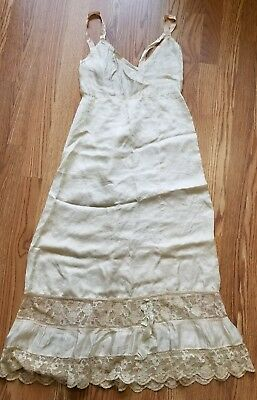 Vintage Original Beige Silk Satin Slip or Nightgown 1930s Size Extra Small
