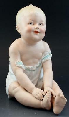 Signed Antique Gebrüder Heubach Bisque Porcelain Seated Child Piano Baby NR