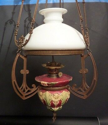 Antique Majolica French Ceramic and Brass Chandelier Ceiling Fixture  Converted