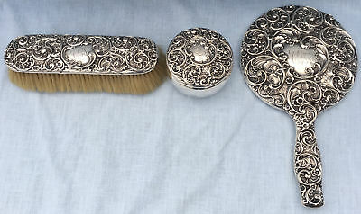 3p Antique WHITING Sterling Silver REPOUSSE Dresser VANITY SET Mirror Brush Jar