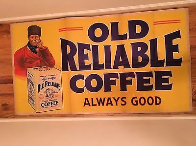HUGE 1920's 62x33 Antique OLD RELIABLE COFFEE Vintage General Country Store Sign