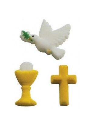 12 x Edible Holy Communion Cross Cupcake Toppers Decorations Party Cakes Dove