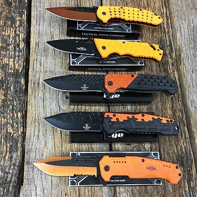 5 PC ORANGE Assorted Spring Assisted Open TACTICAL Pocket Knife NEW KNIVES