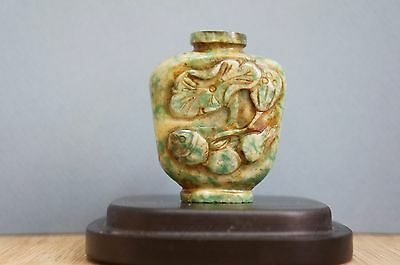 Great Vintage antique chinese carved stone snuff bottle, no top [Y8-W6-A9]
