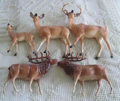 Breyer Molding Company 3 Pc. Family Deer Set and 2 Celluloid Caribou Figures