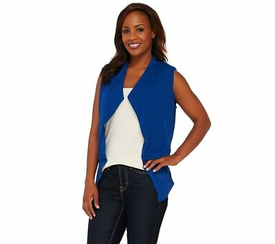Lisa Rinna Collection Open Front Tiered Vest Pockets Royal Blue S NEW A265401