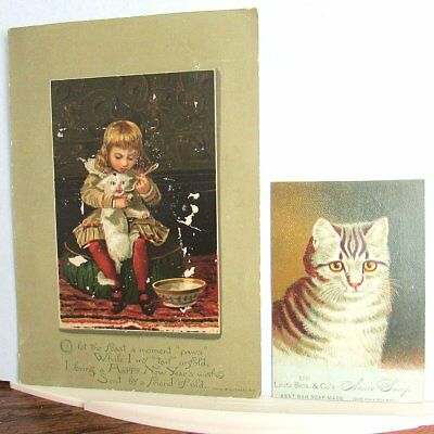 2 CAT Happy New Year & TRADE CARD 1883 New Year Acme Soap Angry Kitten Vintage