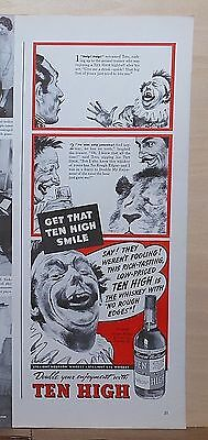 1940 magazine ad for Ten High Whiskey - scared by lion, clown Toto needs a drink