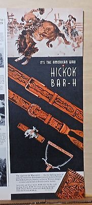 1943 magazine ad for Hickok leather western style Bar-H belts, Jewelry, Braces