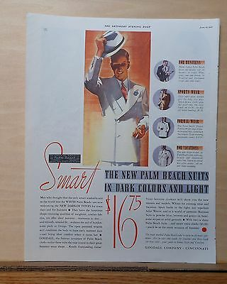 1937 magazine ad for Goodall Palm Beach Suits - suave gentleman tips his hat