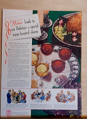 1940  magazine ad for California Wines - Wine Lends our Holidays Special Charm