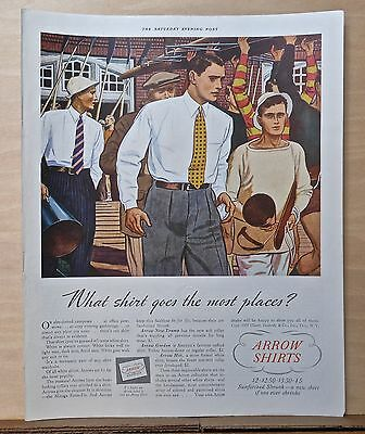 1937 magazine ad for Arrow Shirts, at the rowing club manly men in Arrow shirts