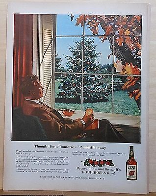 1955 magazine ad for Four Roses - Christmas 2 months away, fall scene, Xmas tree