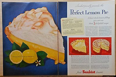 1955 two page magazine ad for Sunkist Lemons, Perfect Lemon Pie recipe, colorful